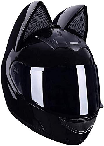 HXSD Casco de Motocicleta Personalizado con Cara Completa con Orejas de Gato, Casco de Viaje de Viaje Fuera de Carretera con Visera Solar, Adecuado para entusiastas y Adultos, Fresco Negro,M