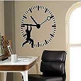 Pegatinas de pared Calcomanías de pared Hombre Silueta Stop The Time Art Wall Sticker Reloj Patt Ed Home Office Business Vinilo decorativo Mural de pared Declas 56 * 56Cm