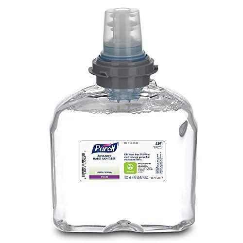 PURELL 5391-02 Tfx Green Certified Instant Hand Sanitizer Foam Refill, 1200ml, Clear