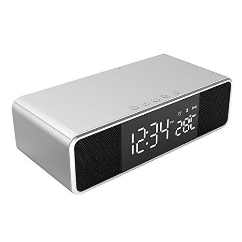 XUANWEI Reloj despertador electrónico LED de temperatura Reloj inalámbrico de teléfono móvil cargador FM Radio Bluetooth altavoz
