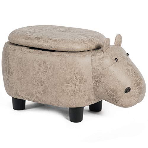 COSTWAY Tierhocker für Kinder, Kinderhocker gepolstert, Sitzhocker mit Stauraum, Polsterhocker mit Deckel, Fußbank Sitzbank Aufbewahrungsbox mit Füßen Tier-Design (Nilpferd-Design)