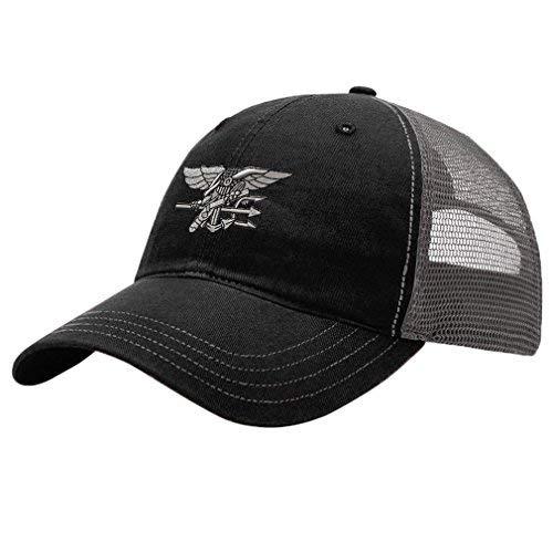Navy Seal Silver Logo Embroidery Design Richardson Cotton Front/Mesh Back Cap Black/Charcoal
