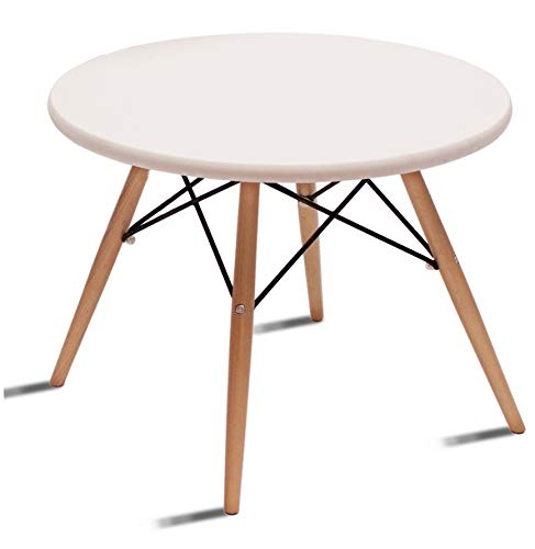 Beat Coffee Mesa auxiliar ,de centro, patas madera y sobre madera blanco estilo nórdico para comedor,dormitorio, cocina , balcón , terraza interior