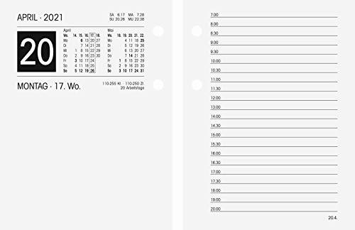 BRUNNEN 1070261001 Tisch-/Umlegekalender, 2 Seiten = 1 Tag, 80 x 108 mm (Form 261 E), linke Seite Kalendarium 2021, rechte Seite für Notizen, gelocht
