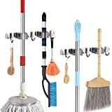 Mop Broom Holder, Wall Mount Stainless Garage Tools Storage Heavy Duty Tools Hanger for Kitchen Bathroom Closet Office Garden with 2 Racks 3 Hooks (2 Pack)