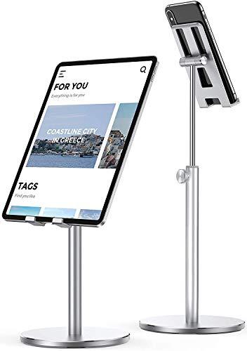 LISEN Verstellbare Tablet/Handy Ständer, Stabiler Ganzmetall Tablet Halterung Verstärkung ipad Stand Halter Dock für Alle Tablet/Smartphones, iPhone 12/iPad/Galaxy,4-13 Zoll