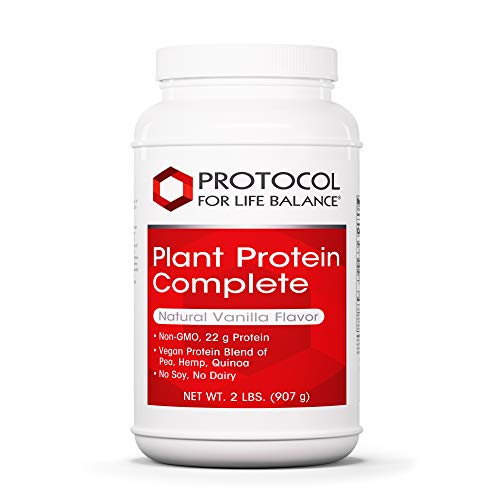 Protocol For Life Balance - Plant Protein Complete - Natural and Easy to Digest Vegan Protein Blend of Pea, Brown Rice, Hemp, and Quinoa - Natural Vanilla Flavor - 2 lbs. (907 g)