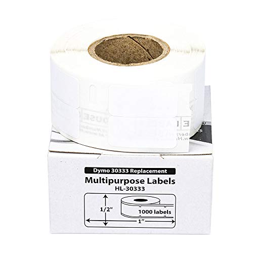 """HOUSELABELS Compatible DYMO 30333 Multipurpose Labels (1/2"""" x 1""""; 2 Labels Across) with Removable Adhesive Compatible with Rollo, DYMO LW Printers, 4 Rolls / 1,000 Labels per Roll"""