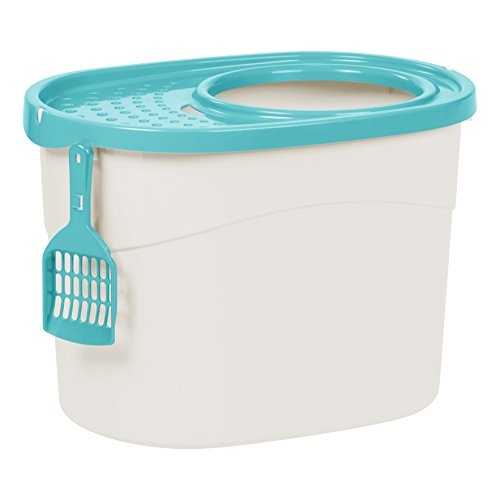 IRIS Top Entry Cat Litter Box with Cat Litter Scoop, White/Seafoam