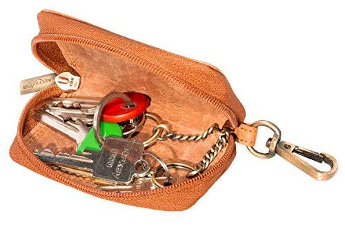 Matador ECHT Leder Schlüsseletui Herren Schlüsseltasche für Autoschlüssel Damen mit Karabiner 2 Schlüsselringe (Hell Braun)