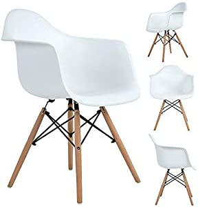 Set di 4 sedie da pranzo, sedia laterale sedia design retrò gamba in legno massello di faggio - bianco