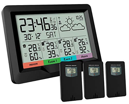 infactory Funkwetterstation: Funk-Wetterstation mit 3 Funksensoren für innen/außen, LCD-Display (Wetterstation mit 3 Außensensoren)