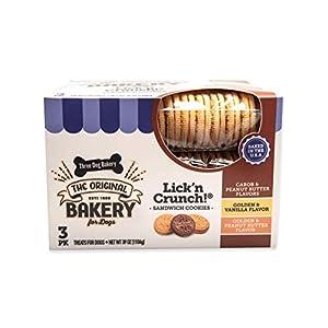 Three Dog Bakery Lick'n Crunch! Sandwich Cookies 3-Pack Premium Treats for Dogs, Carob/Peanut Butter, Golden/Vanilla, and Golden/Peanut Butter, 39 Ounce Bulk Box (114032)