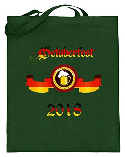 Oktoberfest 2018 München - Bolsa de yute para tienda de campaña, diseño de cerveza para jóvenes y mayores, con asas largas, color Verde, talla 38cm-42cm