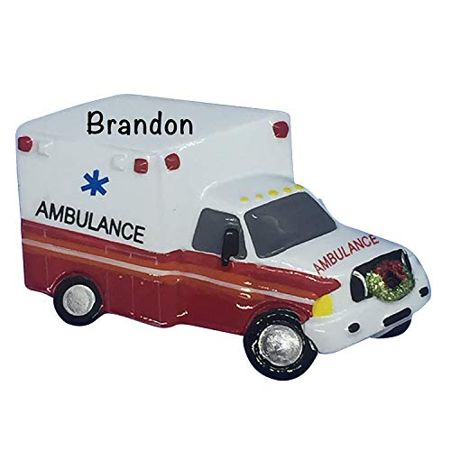 Personalized Christmas Ornaments Specialty Ornaments for Occupations – Charming Christmas Tree Ornaments – Personalized Ambulance EMT Gifts, Ambulance Ornament for Tree, Emergency Services Gift