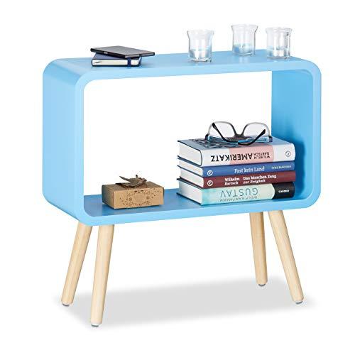 Relaxdays 10021929_45 Tavolino da Salotto e Comodino Basso, HxLxP: 50 x 53 x 20 cm, Moderno, Legno MDF, Blu