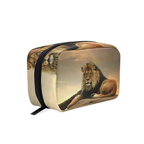 Sac cosmétique avec fermeture à glissière Coucher de soleil animal africain Lion sac de rangement de voyage d'embrayage sac de maquillage sac de rangement pour les femmes