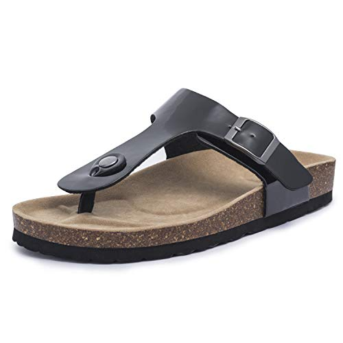 FITORY Damen Lackleder Zehentrenner Pantoletten mit Korkfußbett Bequeme Sommer Sandalen Gr.42 Schwarz