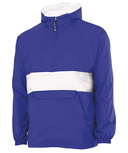 Charles River Apparel Wind & Water-Resistant Pullover Rain Jacket (Reg/Ext Sizes), Royal/White, M
