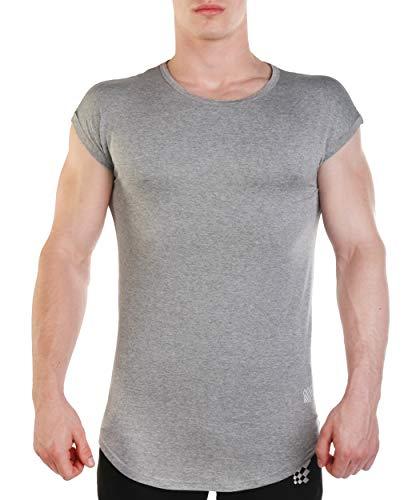 Jed North Mens Athletic Gym Workout Casual Capped Sleeve Slim-Fitted T Shirt Gray