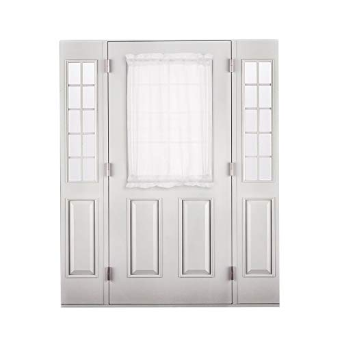 Deconovo Voile Window Drapes Dual Rod Pocket White Sheer Curtain Panel for French Door, 60x40 Inch