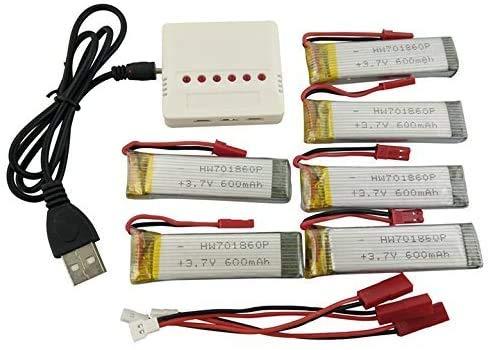 ZYGY 6Stück 3.7V 600mah lipo Akku und 6 in 1 Ladegeräte für UDI U817 U818A V959 V222 V929 S032 Quadrocopter