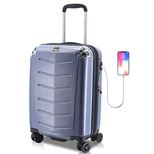 Villagio Hard Shell Luggage - Suitcase with USB Port - Tamper Proof Luggage With Anti-Theft Zipper - Durable Hard Shell Suitcase – Corner Bumper Hard side Luggage - High-End Carryon Luggage