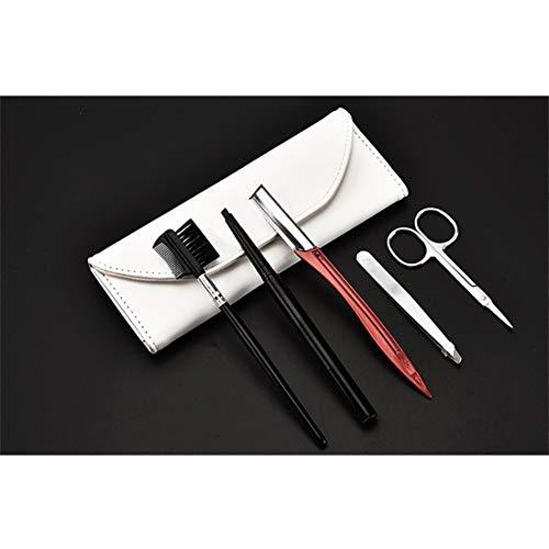 Outils de maquillage pour les yeux CCR Outils de maquillage portables de beauté en acier inoxydable (Sourcils peigne + Sourcils Ciseaux + Sourcils Couteau + Sourcils Clip + Brosse Sourcils) Kit Outils
