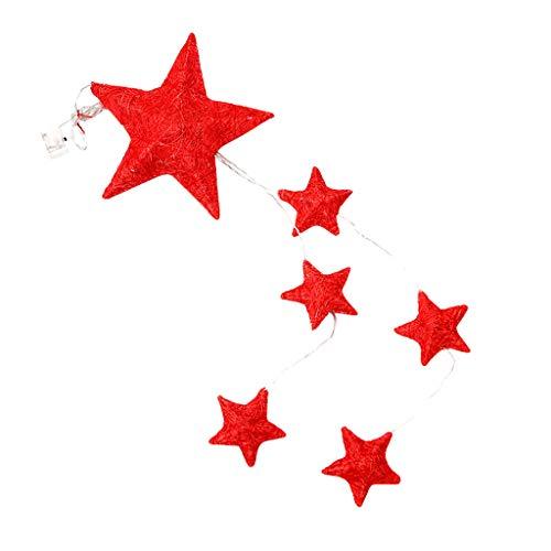 Luccase 10 LED Lichterkette 68x20cm Weihnachts LED Dekorations Lichtpfosten Partei Hochzeits Festival Pentagramm Laterne Spielt Bunte Kreative Dekorations (Rot)