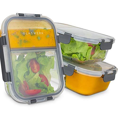 GLASWERK Meal Prep Boxen (3 Stück - 1040ml) - Frischhaltedosen aus Glas mit 2 getrennten Fächern - 100% auslaufsicher und perfekt für Meal Prep