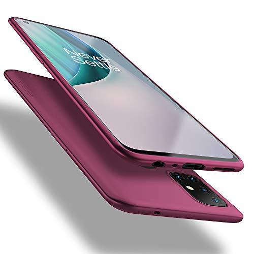 X-level OnePlus Nord N10 5G fodral, mobiltelefonfodral [Guardian Series] mjuk TPU matt finish smal passform ultratunn lätt skyddande mobiltelefon bakfodral för OnePlus Nord N10 5G - vinröd