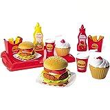 #11 Hamburger Spielset mit 25 Zubehörteilen und Tablett: Spielzeug Hamburger Pommes Kinderküche Zubehör Kaufmannsladen Kaufladenzubehör