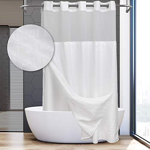 Moderner Duschvorhang oder Liner in Hotelqualität, kein Haken nötig, weißer Ziegel + Liner, Standard (71 W x 74 L))