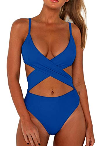 CHYRII Women Adjustable Straps Criss Cross Bathing Suit Bandage Back High Cut Cheeky One Piece Swimsuit 3-Blue M