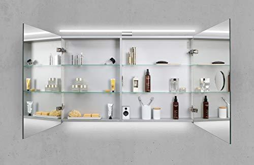 Intarbad ~ Spiegelschrank 110 cm LED Beleuchtung doppelseitig verspiegelt sofort lieferbar Weiß Hochglanz Lack IBSW10139