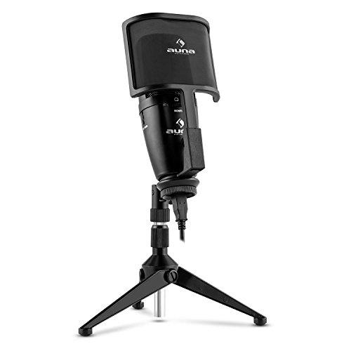 auna Studio-Pro micrófono condensador USB (membrana grande, trípode, filtro antipop y antiviento, Plug&Play compatible PC y Mac)