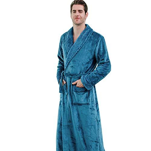 INFILM Herren Fleece-Schlafanzug, volle Länge, einfarbig, mit Gürtel Gr. X-Large, ozeanblau