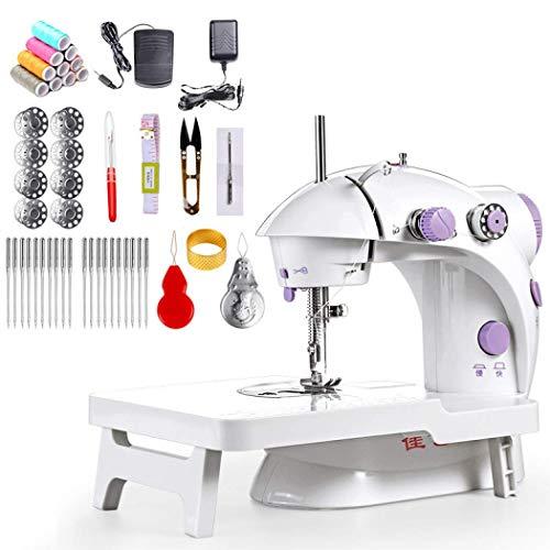 Mini máquina de coser con mesa extensible, portátil, dos hilos, doble velocidad, máquina de coser automática, interruptores dobles para el hogar, niños principiantes european standard blanco