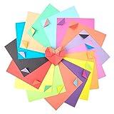 Papel de Origami, 120 hojas de doble cara 8 color del arco iris paquete de papel para...