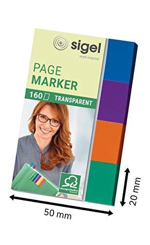 SIGEL HN671 Haftmarker Transparent, 160 Streifen im Format 20 x 50 mm, mint, orange, violett, türkis, aus Papier