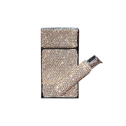 Zigarettenetui Luxus Echtes Leder mit Diamanten Dicke Zigarettenetui 20 StüCk Set Tragbar Wasserdicht und FeuchtigkeitsbestäNdig PersöNlichkeit Geschenk,Silver,Silver 2