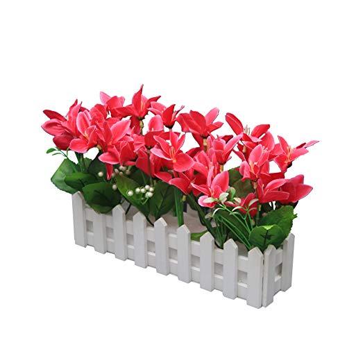 Flikool Künstliche Blumen mit Holzzaun Gefälschte Orchideen Seidenblume Dekorativ Blumengestecke Lilien Kunstblumen im Topf Kunstpflanzen Bonsai Künstliche Pflanze für Balkon Zuhause Deko - Rose