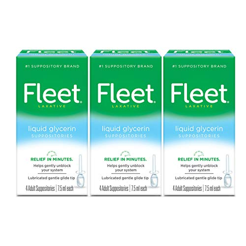 Fleet, Liquid Glycerin Suppositories for Adult Constipation 4 Suppositories, 0.25 Fl Oz (Pack of 12), 3 Fl Oz, (Pack of 3)
