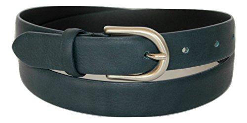ITALOITALY Cintura in Vera Pelle, Donna, Alta 2,5cm, Colore Blu Scuro, Produzione Artigianale, Made in Italy, Accorciabile (Lunghezza totale cm 105)