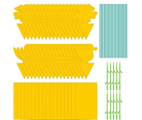 80 unidades de trampa para moscas de frutas amarillo de doble cara, papel pegajoso para insectos y gnat trampas para mosquitos hongos Gnats, áfido volador, moscas blancas, mineros de hojas