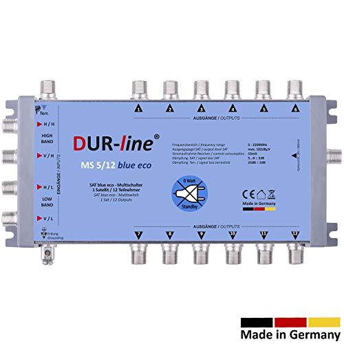 DUR-line MS 5/12 Blue eco Stromspar Multischalter - für 12 SAT Teilnehmer/TV - kein Netzteil notwendig - 0 Watt Standby Multiswitch [Digital, HDTV, FullHD, 4K, UHD]