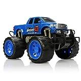 com-four® XL Monstertruck, Aufziehfahrzeug für Kinder, großes Spielzeugauto mit Friktionsmotor, toller Spielspaß ohne Strom (Blau)