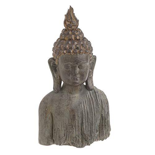 Inart Polyresin Tischdekoration Buddha Büste Antique Beige Golden L16 x B10 x H29
