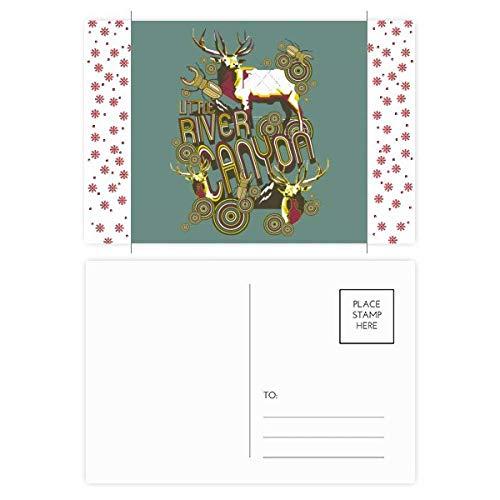 Rendier dier insect artistieke effect kleurrijke kerst bloem ansichtkaart dank kaart versturen 20 stks