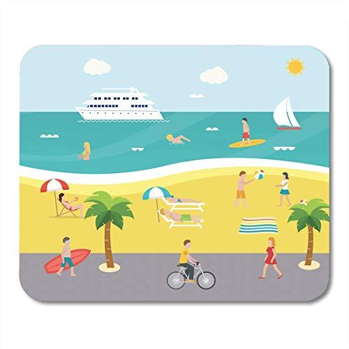Mouse Pads Outdoor-Szene am Strand mit Menschen, die im Meer schwimmen Surfen Sonnenbaden Spielen mit Ball Embankment Mouse Pad für Notebooks, Desktop-Computer Büromaterial